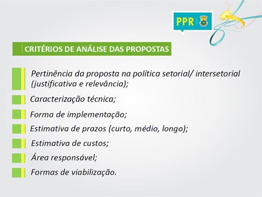 Critérios usados para análise das propostas