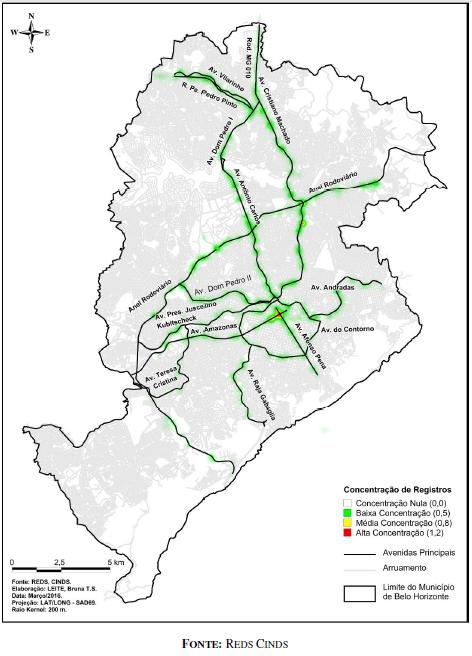 Localização das 15 mais letais de Belo Horizonte. Fonte: REDS CINDS
