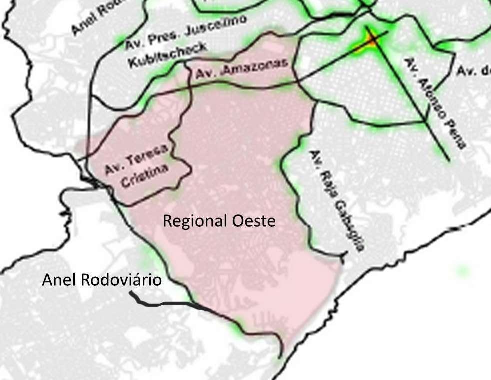 Mapa com as vias mais perigosas da Regional Oeste. Fonte: REDS CINDS
