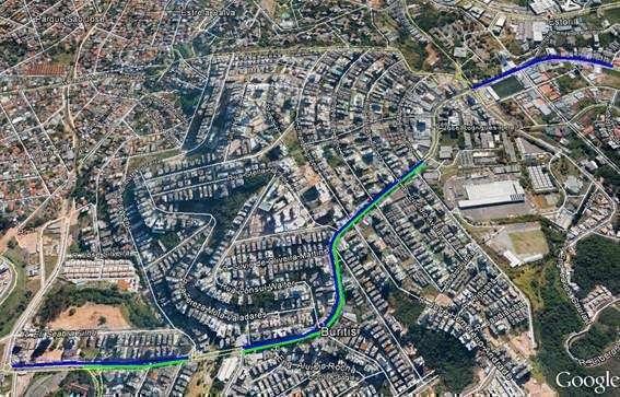 Mapa de atuação da Gasmig na avenida Professor Mário Werneck