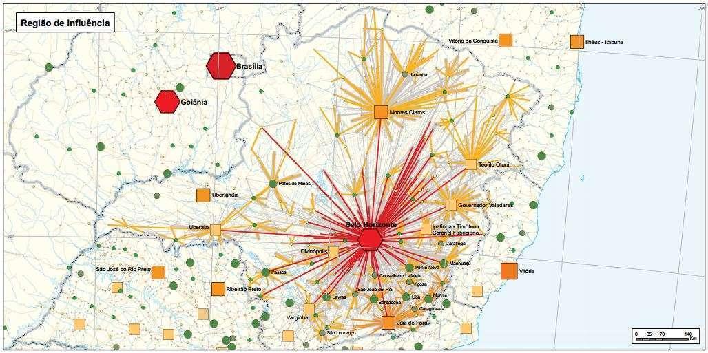 Mapa de dimensão de influência de Belo Horizonte