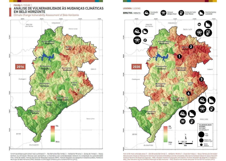 Evolução das Vulnerabilidades 2016 - 2030 - Fonte: Análise de Vulnerabilidade às Mudanças Climáticas do Município de Belo Horizonte