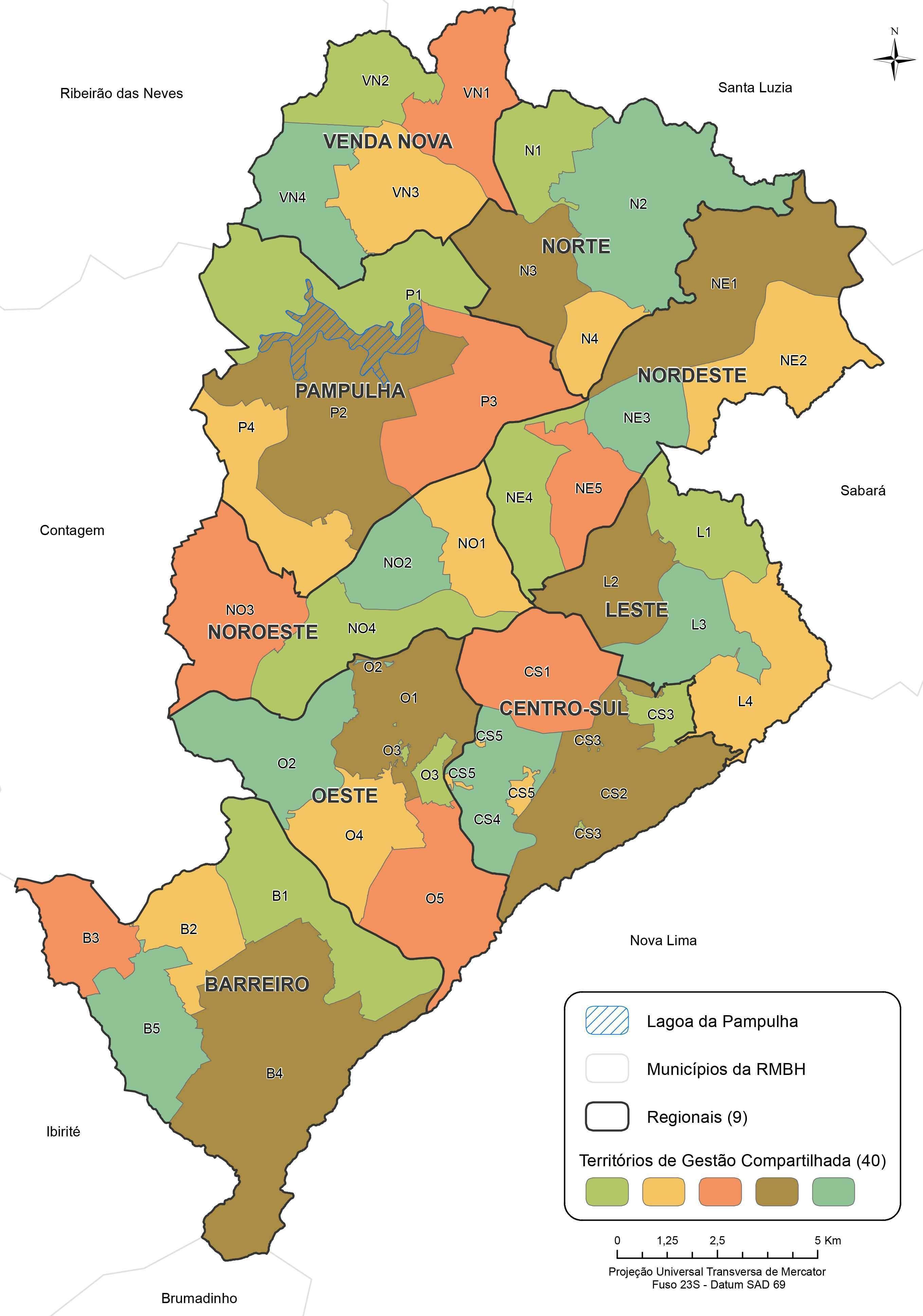 Territórios de Gestão Compartilhada de Belo Horizonte - Fonte: PBH