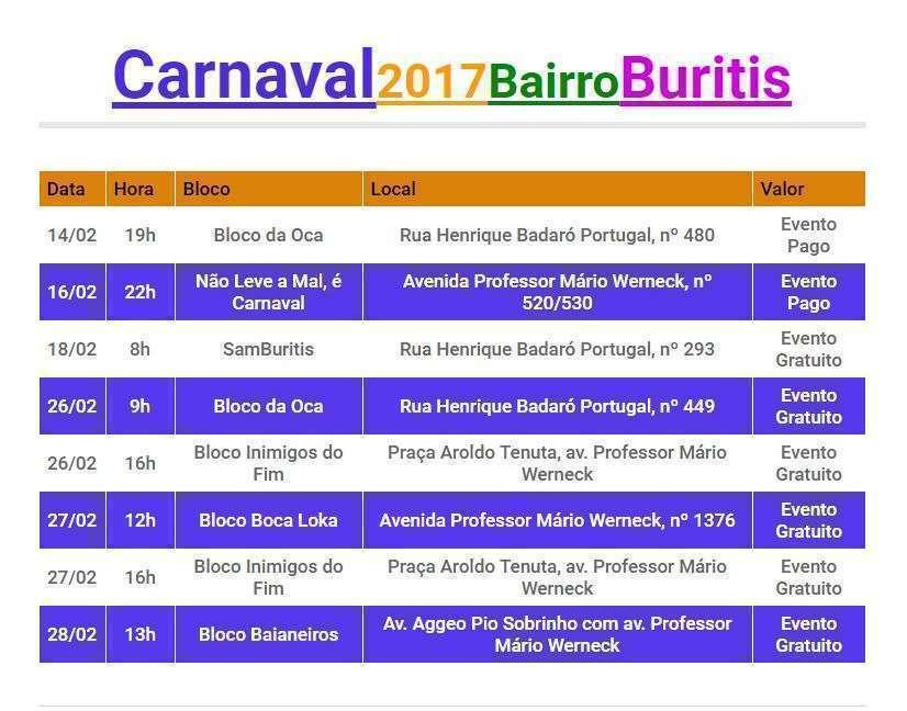 Calendário do Carnaval 2017 - Bairro Buritis