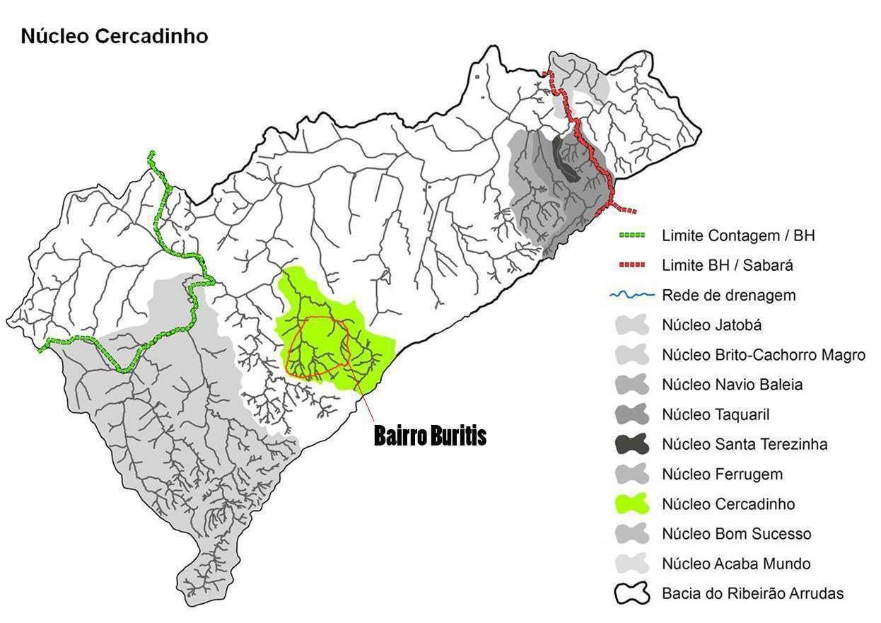 Mapa Cercadinho e proporção do Bairro Buritis