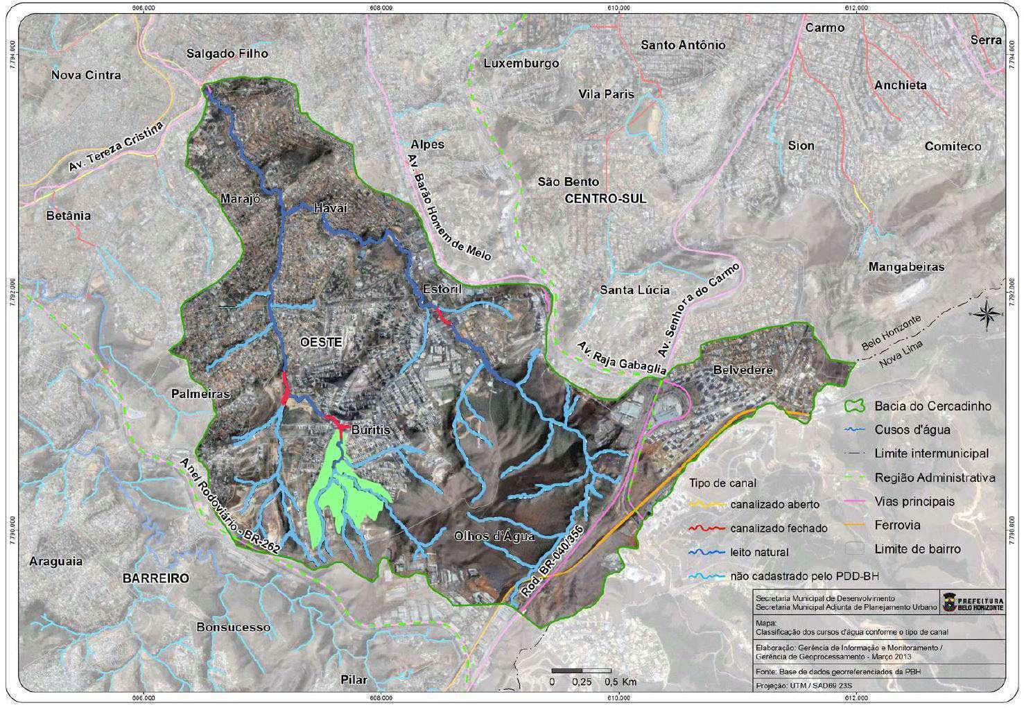 Mapa bacia do Cercadinho e tipos de canalização