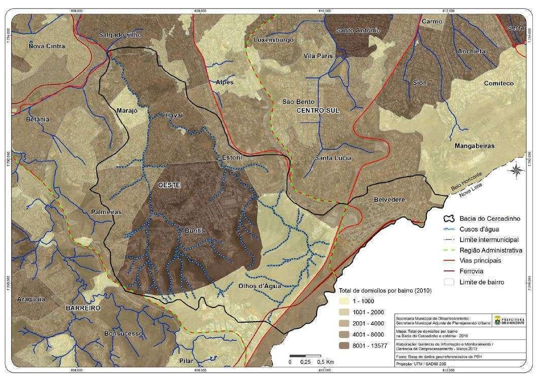 Mapa bacia do Cercadinho e total de domicílios por bairro