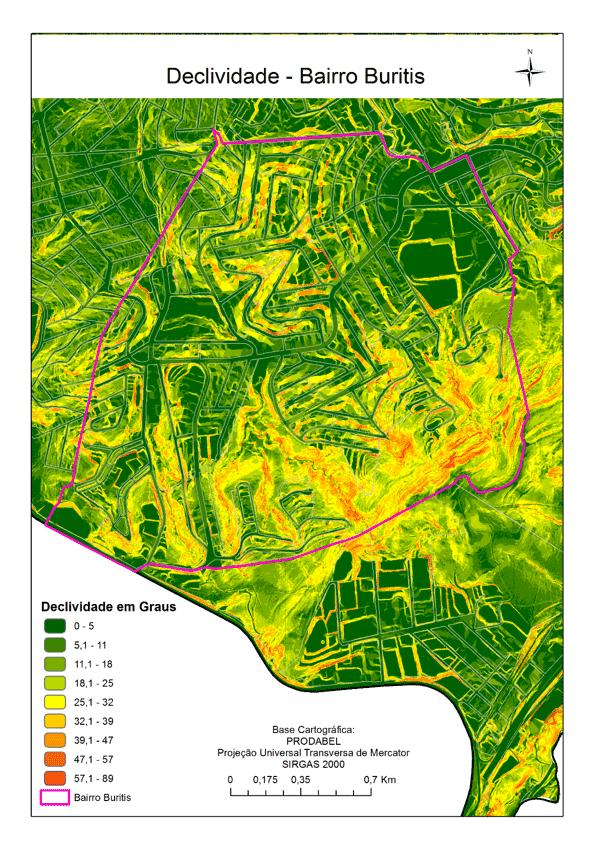 Mapa de Declividade do Buritis. Fonte: Prodabel