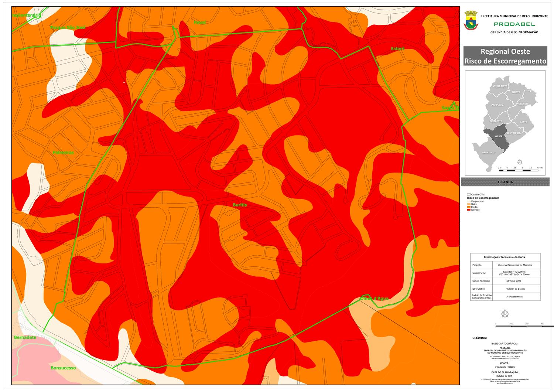 Mapa de Risco Geológico no Buritis. Fonte: Prodabel.