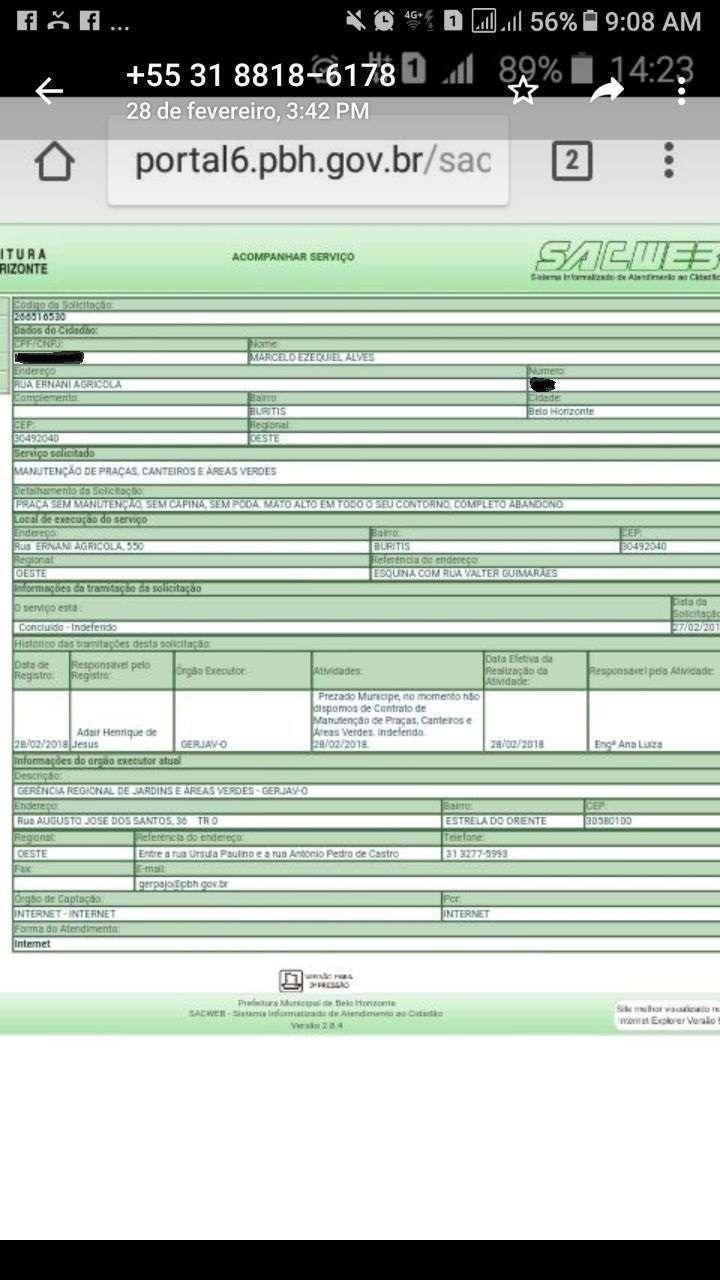Solicitações realizadas através do portal da PBH